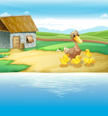Illustration of a family of duck near the river Vector