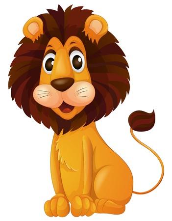 Ilustración de un cachorro de león en un fondo blanco