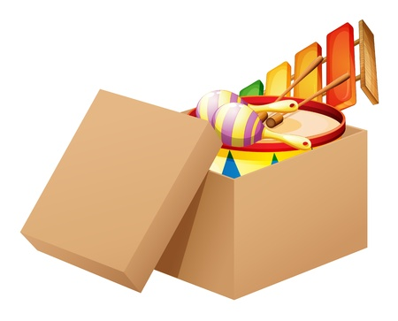 suprise: Illustration of a cartoon full of toys on a white background Illustration