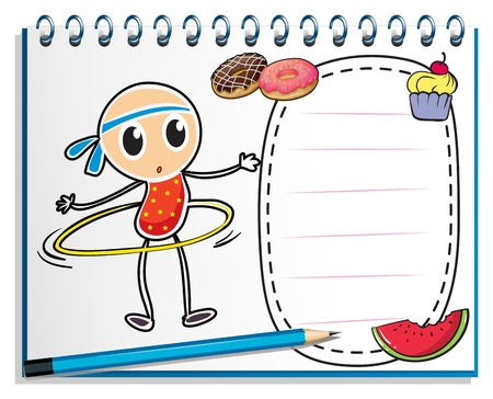 Illustration of a notebook with a sketch of a young child with a hoop on a white background Vector