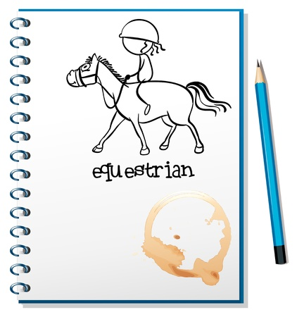 horseback riding: Illustration of a notebook with a drawing of a girl riding a horse on a white background