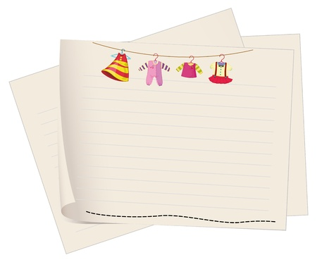 infant school: Illustration of a paper with a drawing of hanging clothes on a white background