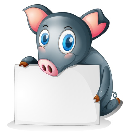 Illustration of a black pig holding an empty signage on a white background Stock Vector - 18983445