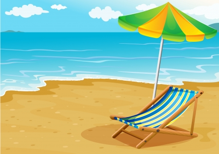 sun bed: Illustration of a seashore with a bench and an umbrella Illustration