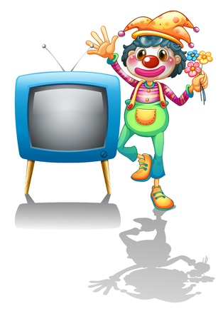 Illustration of a television beside a female clown on a white background