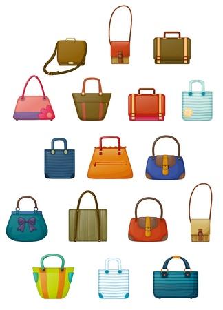 Ilustración de los diferentes diseños de bolsos en un fondo blanco
