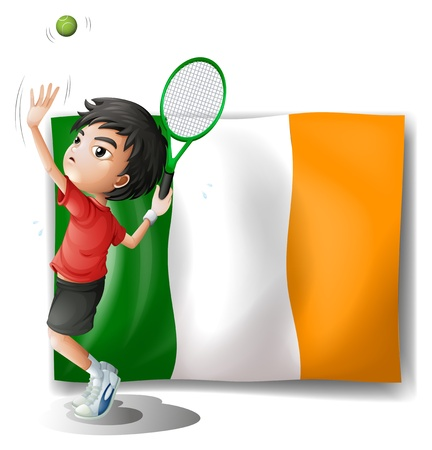 Illustration of a boy playing tennis in front of the Ireland flag on a white background Stock Vector - 18983441