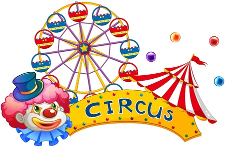 car show: Illustration of a signage at the circus with a clown on a white background