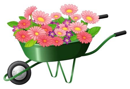 Ilustración de un carro de la construcción con un montón de flores sobre un fondo blanco