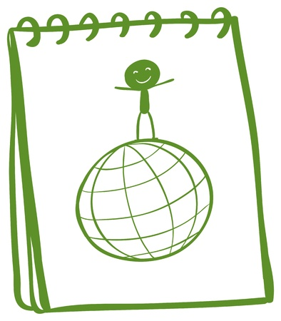 Illustration of a notebook with a sketch of a boy above a globe on a white background Vector