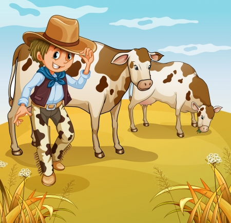 man outdoors: Illustration of a cowboy with two cows eating