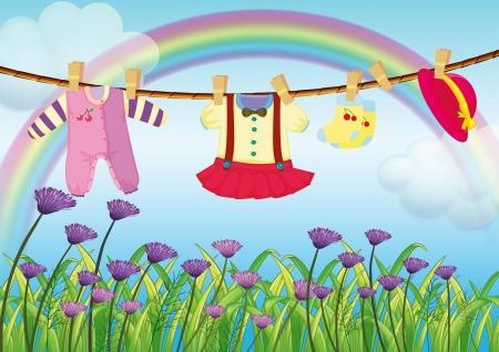 Illustration der hängenden Babykleidung in der Nähe der Garten mit frischen Blumen