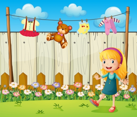 wet clothes: Illustration of a backyard with hanging clothes and a young girl
