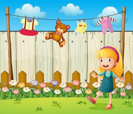 hanging woman: Illustrazione di un cortile di casa con i vestiti appesi e una giovane ragazza