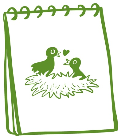 Illustration of a notebook with a drawing of two birds in the nest on a white background Vector