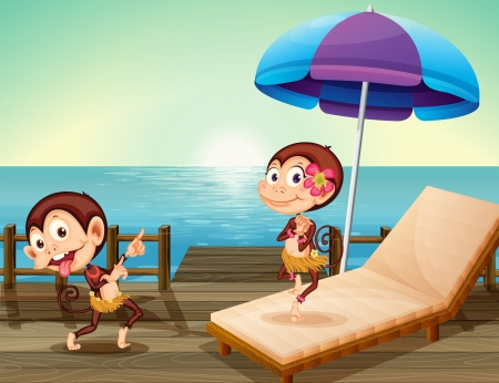 Illustration of the two monkeys at the wooden bridge Stock Vector - 18983637