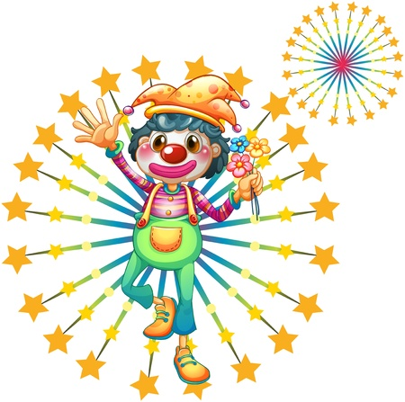 Illustration of a firework display with a clown on a white background Vector