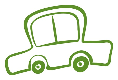 artisitc: Illustration of a drawing of a green car on a white background