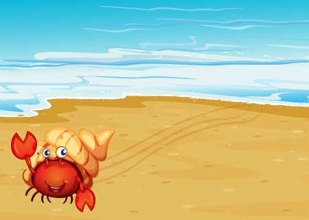 shore line: Illustration of a red crab with a shell at the seashore