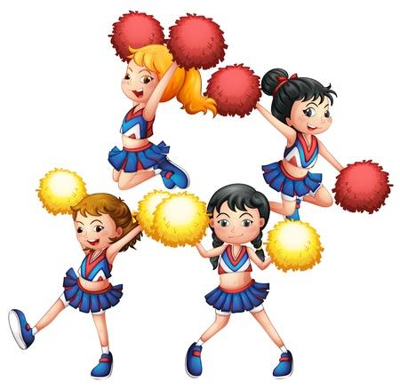 cheer leader: Ilustraci�n del pelot�n que anima en�rgica sobre un fondo blanco