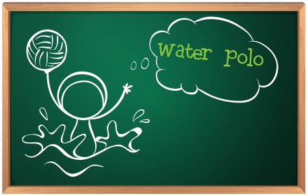Illustration of a blackboard with a sketch of a person playing water polo on a white background Vector