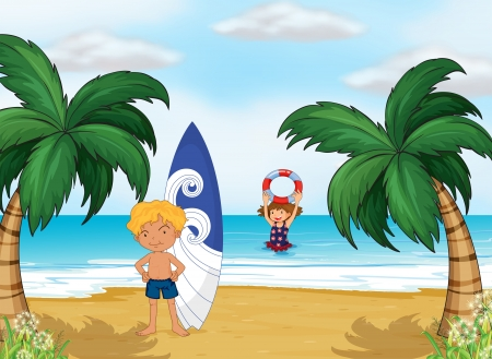 Illustration of the kids enjoying summer at the beach Vector