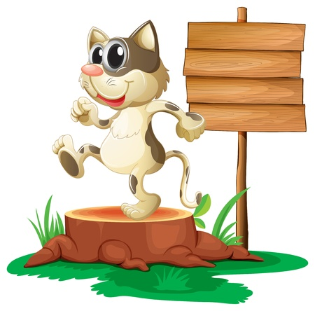 cut logs: Illustration of a cat above a trunk near an empty board on a white background