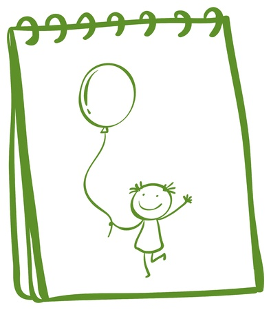 Illustration of a notebook with a sketch of a young girl with a balloon on a white background Stock Vector - 18983356