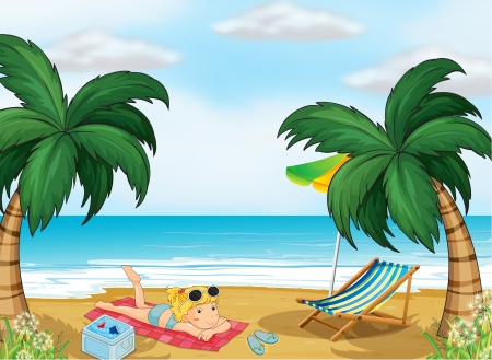 Illustration of a girl relaxing at the beach Stock Vector - 18983686
