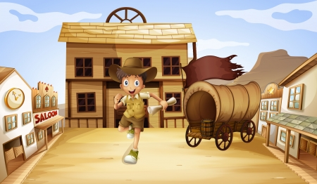 wheel house: Illustration of a boy running with a scrolled paper Illustration