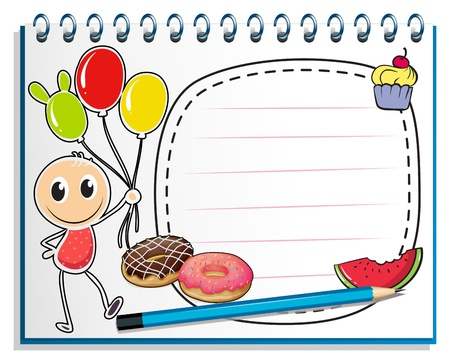 Illustration of a notebook with a drawing of a boy holding balloons on a white background Vector