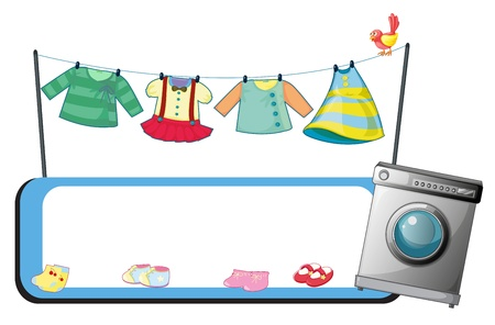 Illustration of an empty template with a washing machine and clothes on a white background Vector