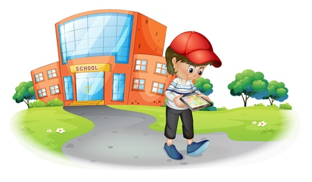 Illustration of a boy holding a gadget near the school on a white background Illustration