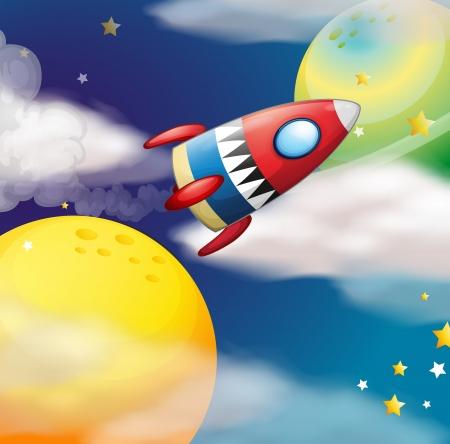 milkyway: Illustratie van een ruimteschip in de buurt van de planeten