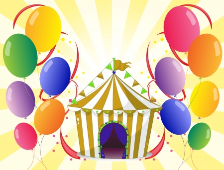Illustration of the balloons with a circus tent at the center Vector