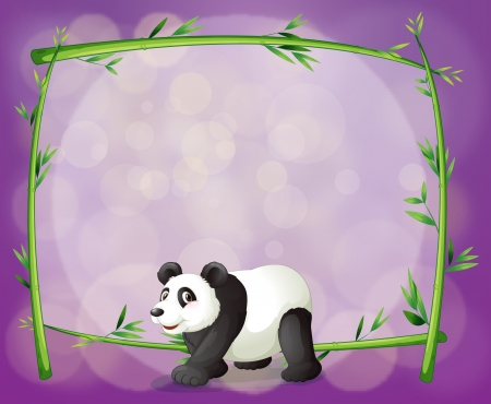 Illustration of a panda in front of a bamboo frame Vector