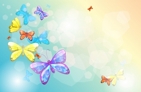 lllustration of an empty stationery with butterflies Vector