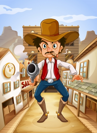 Illustration of a Mexican man holding a gun Stock Vector - 18983692