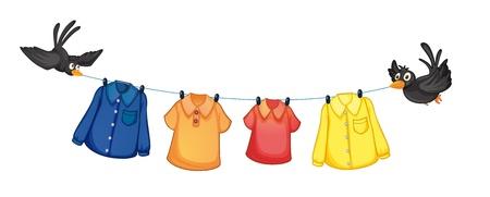 ropa colgada: Ilustración de los cuatro diferentes tipos de ropa que cuelga con los pájaros sobre un fondo blanco