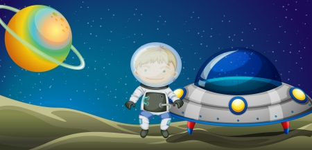 Illustration of the young explorer beside the spaceship Vector