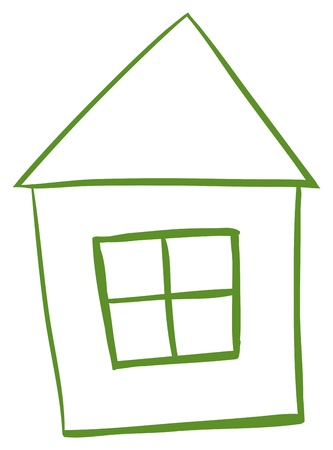 Illustration of a green colored house on a white background Stock Vector - 18983296