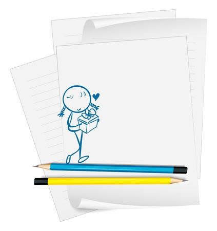 Illustration of a paper with an image of a girl with a gift on a white background Stock Vector - 18983344