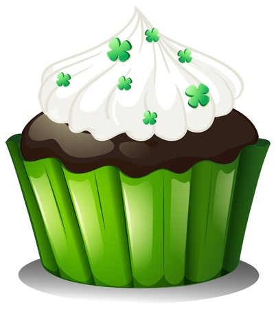 feast of saint patrick: Illustration of a flavorful chocolate cupcake on a white background