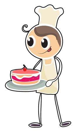 Illustration of a baker holding a tray of cake on a white background Vector