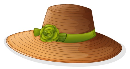 Illustration of a brown hat with a green ribbon on a white background