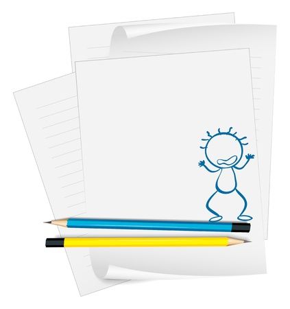 Illustration of a paper with a drawing of an angry boy on a white background Stock Vector - 18983322