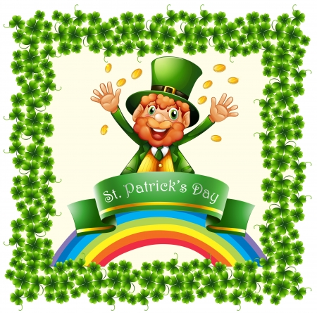 feast of saint patrick: Illustration of a green border made of clover plants on a white background