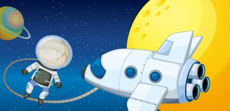 Illustration of a young boy exploring the space Vector