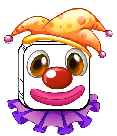 clown nose: Illustration of a square clown face on a white background