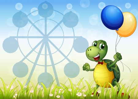 car garden: Illustration of a turtle with two balloons at the carnival
